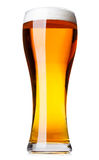 Tall glass of pilsner beer with head isolated. Full pilsner glass of pale lager beer with a head of foam isolated on white background Stock Photography
