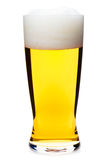 Tall glass of pilsner beer with head isolated Stock Photos