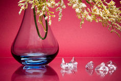 Tall glass vase with small stem of flowers on pink Stock Photography