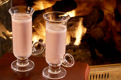 Tall glasses of hot chocolate Stock Images