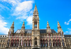 Tall gothic building of Vienna city hall, Austria Royalty Free Stock Photos