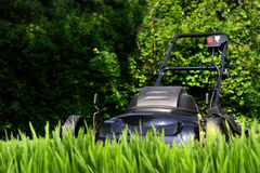 Tall grass. Black lawnmower ready to  cut tall overgrown yard grass (focus is on mower Stock Image