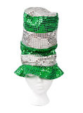Tall green sequin hat with clipping path Stock Image
