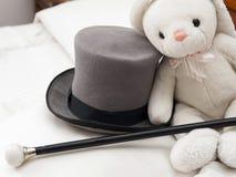 Tall hatt and walking stick Royalty Free Stock Photos