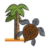 Tall Hawaiian palms on sand and huge sea turtle. Tropical tree plant grown at hot countries and amphibian animal with solid shell isolated cartoon flat vector vector illustration