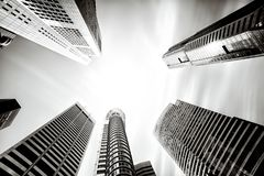 Tall high rise office buildings in Singapore stock photo