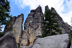 Tall high rocks and blue sky in national park illustration photography Stock Image
