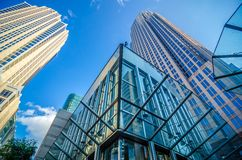 Tall highrise buildings in uptown charlotte near blumenthal perf Royalty Free Stock Photography