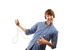 Tall Hipster with Headphones Stock Photos