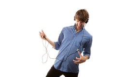 Tall Hipster with Headphones Stock Photography