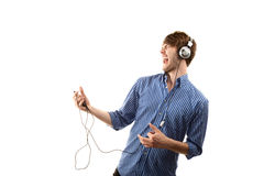 Tall Hipster with Headphones Stock Photo