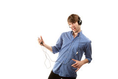 Tall Hipster with Headphones Royalty Free Stock Photo
