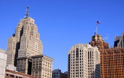 Tall historic buildings in Detroit Stock Photos