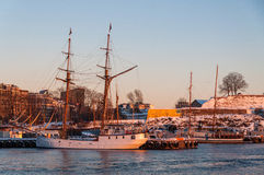Tall historic ship at dusk in Oslo Fjord, Norway Stock Photos