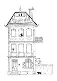 Tall house with architectural ornaments and ambiance. A tall housing building illustration depicting normal every day life. Decorative home hand drawing with Royalty Free Stock Photography