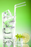 Tall iced drink with mint & lime Royalty Free Stock Photos