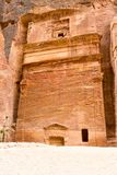 Street of Facades, ancient city of Petra, Jordan. Tall, impressive tomb, with large facade in its front on the Street of Facades, ancient city of Petra, Jordan royalty free stock image