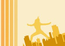 Tall lady in city graphic. Layout stock illustration