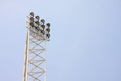 Tall lamp in stadium. Structure of tall stadium lamp royalty free stock photo