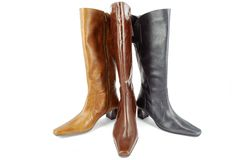 Tall leather boots Stock Photos