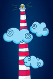 Tall lighthouse standing among clouds Royalty Free Stock Photo