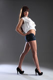 Tall long legged beautiful mixed race model girl Stock Photography