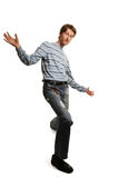 Tall man. Funny young tall man isolated on white Stock Photography