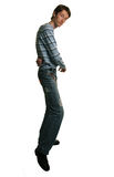 Tall man dancing. Salsa on white Royalty Free Stock Photos