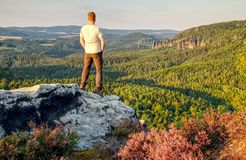 Tall man , outdoor clothes stands alone on the peak of rock. Hiker watching hilly forest landsape in morning mist stock photo