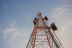 Tall mast with beautiful blue sky Stock Photo