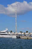 A Tall Mast On A Sailing Yacht - Luxury Boat Royalty Free Stock Image