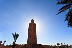 Tall minaret tower of the famous Koutoubia mosque Stock Photo