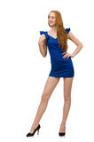The tall model in blue dress isolated on white Stock Images