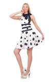 Tall model dressed in dress. With polka dosts on white royalty free stock images