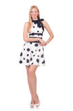 Tall model dressed in dress with polka dosts Royalty Free Stock Images