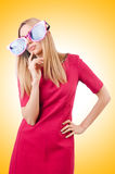 Tall model with giant sunglasses Royalty Free Stock Images