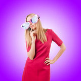 Tall model with giant sunglasses on white Stock Photos