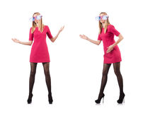 The tall model with giant sunglasses on white Stock Image