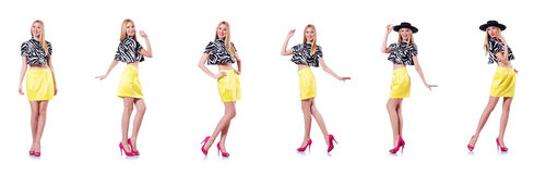 The tall model isolated on the white Royalty Free Stock Images