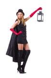 Tall model with lantern Stock Photos
