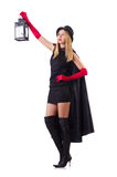Tall model with lantern Royalty Free Stock Images