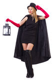 Tall model with lantern Royalty Free Stock Photo