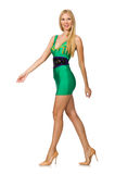The tall model in mini green dress isolated on white Royalty Free Stock Images