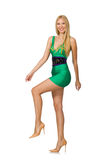 The tall model in mini green dress isolated on white Stock Photography