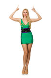 The tall model in mini green dress isolated on white Stock Images