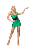The tall model in mini green dress isolated on white Royalty Free Stock Photography