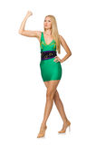 The tall model in mini green dress isolated on white Stock Photo