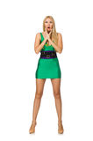 Tall model in mini green dress isolated on white Royalty Free Stock Photos