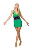 Tall model in mini green dress isolated on white Stock Image