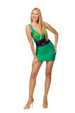 The tall model in mini green dress Stock Images